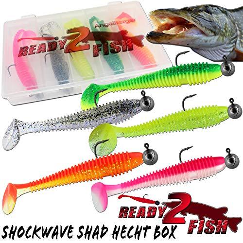 Angel-Berger Ready2Fish Shockwave Shad mit Box Gummifisch Set mit Box Kunstköder (Hecht / 12cm)