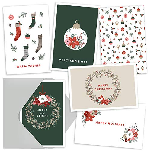 Christmas Cards - Christmas Greetings Cards Pack of 36 Cards with Envelopes - 6 Merry Christmas Card Designs Per Pack - A Christmas Card with Scandi Theme - Nordic Christmas Card