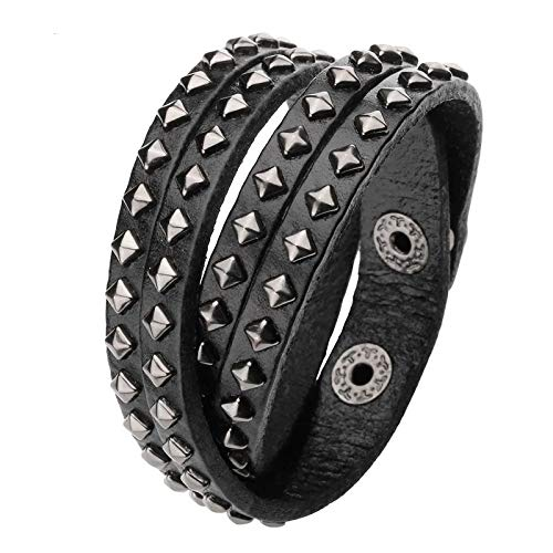 1Pcs Punk Bracelets Multi Layers Strap Cuff Wrap Punk Biker Black Genuine Leather Bracelet Wristband Cool Bracelets