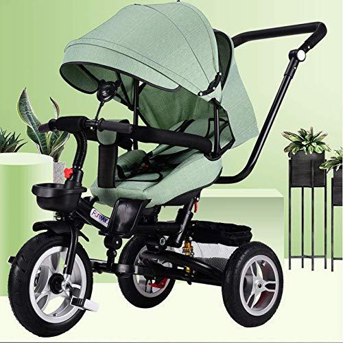 Triciclo Evolutivo Triciclo plegable para niños 4 en 1 De 6 meses a 5 años Cinturón de seguridad de 5 puntos Triciclo con pedales para niños Respaldo cómodo y ajustable Parrilla para sol Canop