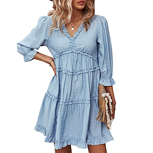 XYJD Spring and Summer Women's Casual Loose Solid Color V-Neck Lotus Sleeve High Waist Dress Women Blue