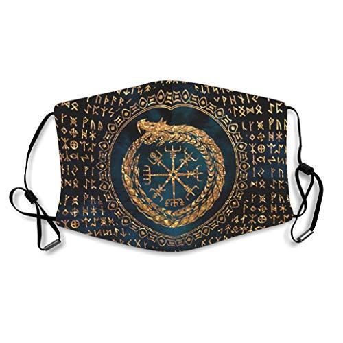 NA Vintage Goldener Wikinger Helm des Ehrfurcht Drachen Fathurk TattooNordisch Mythologie Druck Gesichtsmundmaske Staubdicht Wiederverwendbar Gesichtsmaske Elastisch Ohrbügel für White OneSize
