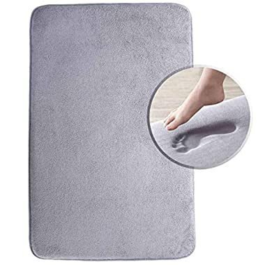 Memory Foam Bath Mat Luxurious Large Bathroom Rugs Non Slip with Soft Maximum Absorbency Washable Quickly Drying Floor Mats (20  X 32 , Gray)
