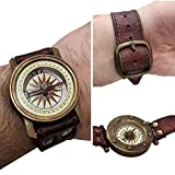 Marine Steampunk Wrist Watch Sundial Compass with Leather Strap Band Vintage Style Wearable Timepiece Unisex