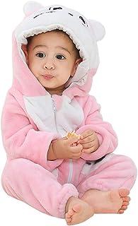 Michley Baby Strampler Overall mit Kapuze Unisex Strampelanzug Winter Flanell Spielanzug für 2-24 Monate