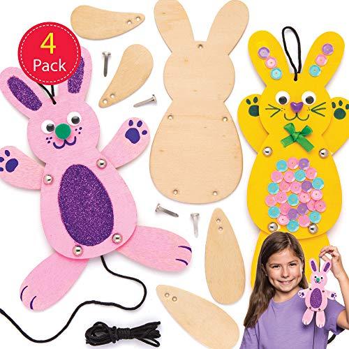 Baker Ross AW331 Baker Ross Knutselsets houten poppen, 4 stuks, knutselidee voor Pasen voor kinderen om samen te zetten en te decoreren speelgoed › knutselen en schilderen