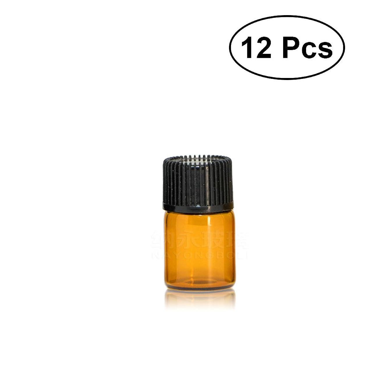 小切手壁紙民間人ROSENICE 2mlミニバイアルボトルオリフィスリデューサーキャップ付きガラス瓶エッセンシャルオイルコンテナ12個