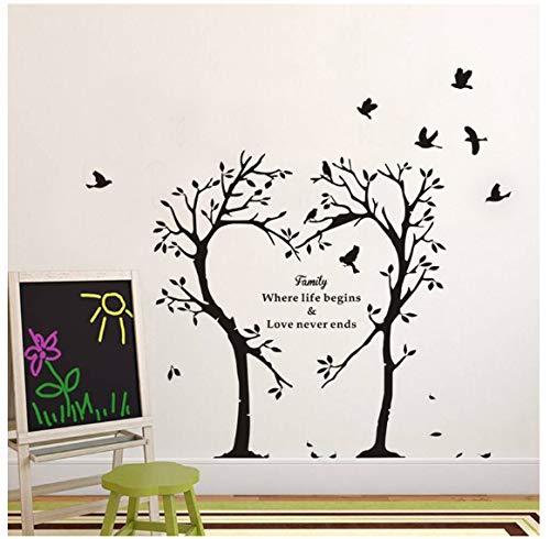 Liebesbaum-Wandaufkleber Steuern Dekorationswandvogelapplikations-Hintergrundaufkleber Der Wohnzimmerwand Warmen Automatisch An