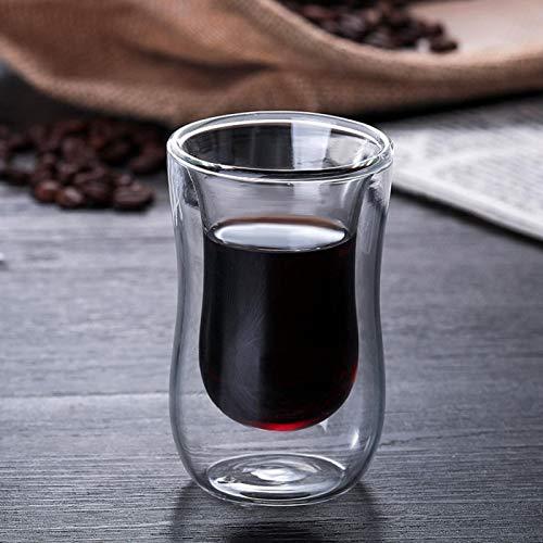 Xícara de café segura de 80ml, vidro de parede dupla, xícara de chá, confortável antiderrapante para chá e café