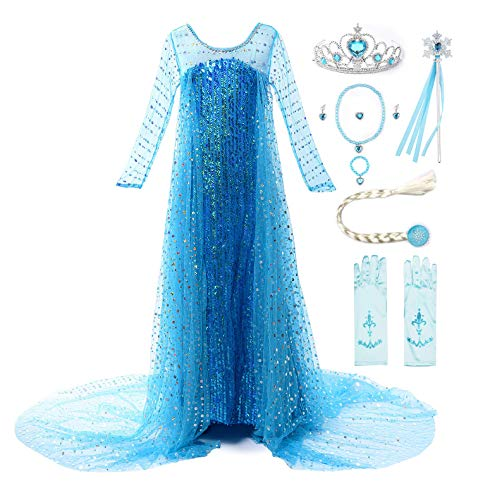 JerrisApparel Costume Cosplay della Principessa Partito Ragazza Vestito Maxi con Il Bello Diamante (110cm, Paillette Elsa con Accessori)