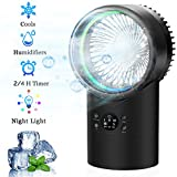 OVPPH Portable Air Conditioner Fan, Personal Space Mini Evaporative Air Cooler Fan Desk Table Fan Ultra-Quiet Humidifier Misting Cooling Fan with 7 Colors Light Changing for Home Office Bedroom