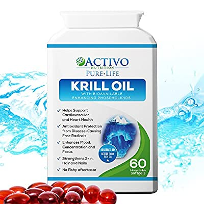 Pure Krill Oil, Super Omega 3 Supports Healthy Heart, Brain, Joint Health, Memory, Focus, Energy, Mood - With Vitamins E A D for Women and Men - Easy Swallow Soft Gel Capsules - Made in UK! by Activo Nutrition
