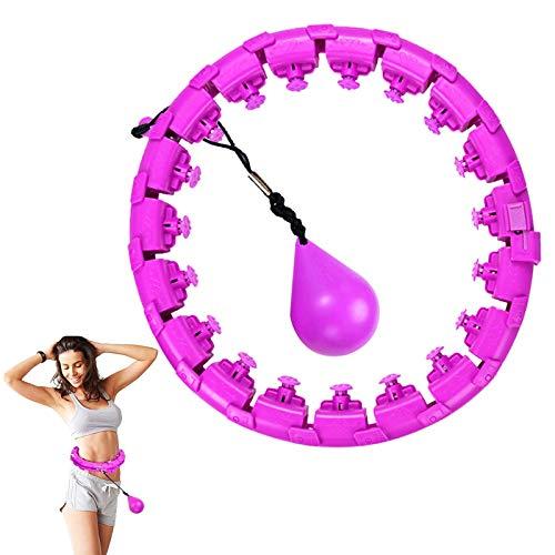 HUANLIAN Hula Hoop Inteligente Mejorado 24 Nudos Tamaño Ajustable 360 ° Auto-Spinning Non Dropping Fitness Hula Hoops Entrenamiento para Hombres Y Mujeres