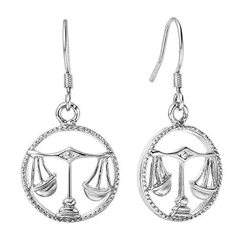 Sternzeichen-Ohrringe Waage, Damen Ohrhänger mit Sternzeichen Ohrstecker Autiga® silber