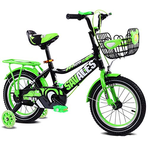 New Home Gym Children's Bicycle Kids Boys Gilrs Bike with Stablizers 12inch Age 3-5Y (Color : Green)