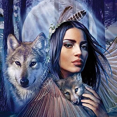 Pintura de diamante Animal Lobo mujer bordado de diamantes paquete completo 3D DIY diamante mosaico decoración diamantes de imitación costura