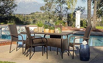 Coaster Home Furnishings 6NRB134001 Bayard 5-Piece Outdoor Rattan Dining Set, Brown