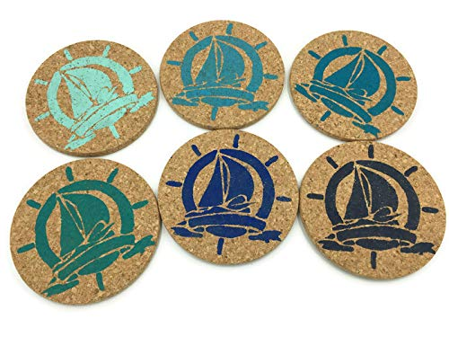Colorful Sail Boat Beach Bar Cork Coaster Set, 6