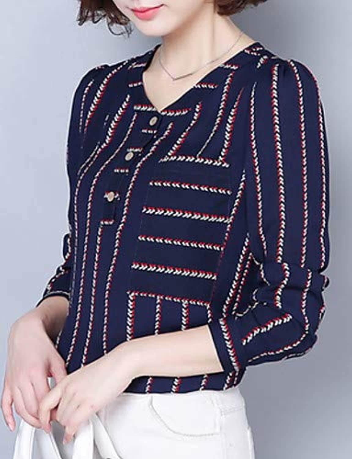 Women's Going Out Blouse  Striped v Neck