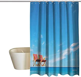 MaryMunger House Decor Collection Fabric Shower Curtain Swimming Pool with Beach Chairs Armchair Sunlight Outdoors Waterscape Sunbath Image Metal Build W72 x L84 Blue Red
