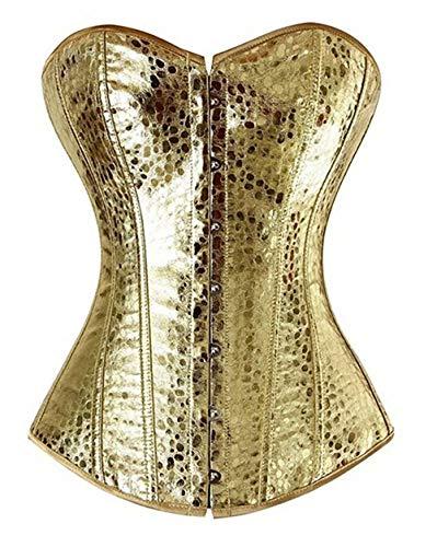 Sexy Corset de Cuero Disfraz Mujer Bustier Vestir Cremallera gotico Lingerie Elegante Halloween Dorado 2XL