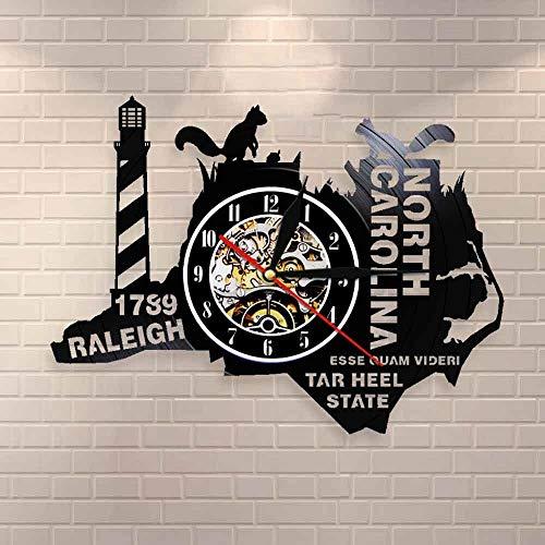 Regalos para Hombres The Tar Heel State Reloj de Pared de Carolina del Norte Reloj de Pared con Disco de Vinilo del Estado de EE. UU. Living In North Caroline Regalos para los nostálgicos