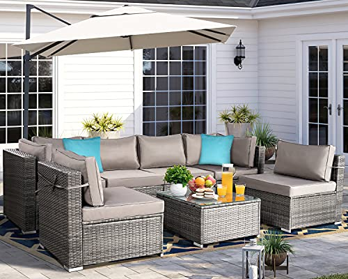 Aoxun 7 Piece Patio Furniture Sets, PE Hand-Woven Rattan Wicker Sofa Set, Outdoor Sectional Patio Furniture with 2 Blue Pillows, Coffee Table and Cushions, Grey