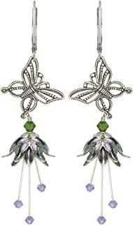 NoMonet Hand Painted Flower Fairy Earrings - Butterfly Song Earrings - Silver, Lilac and Green