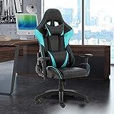 Futurefurniture® - Silla para gaming, con reposacabezas y cojín lumbar, color azul