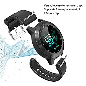 Smart Watch for Android iOS Phones, GPS Smartwatch for Men with Heart Rate and BP Monitor, Pedometer, Text Call Notification, Compass, Barometer, Altitude, Leather and Rubber Bands, Round Face, 2020