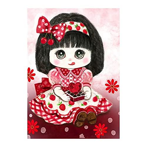 Queenser 16 x 20 polegadas DIY pintura a óleo em tela de pintura por número Kit linda menina mulheres padrão artesanato decoração de parede em casa pintada à mão para adultos crianças presente iniciante sem