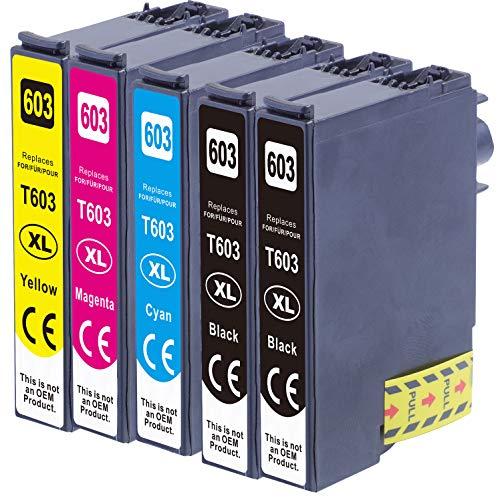 5X kompatible Druckerpatrone als Ersatz für Epson 603 / 603XL für XP-2100 XP-2105 XP-3100 XP-3105 XP-4100 XP-4105 WF-2810DWF WF-2830DWF WF-2835DWF WF-2850DWF bk/bk/c/m/y