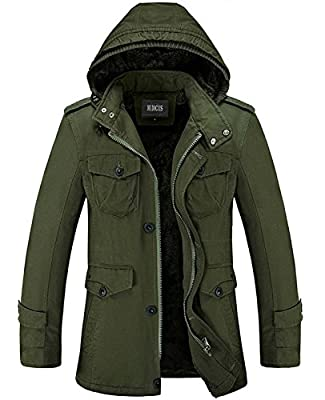 Nidicus Mens Classic Zipper Up Pea Coat with Removable Hood & Fleece Lining Army Green M