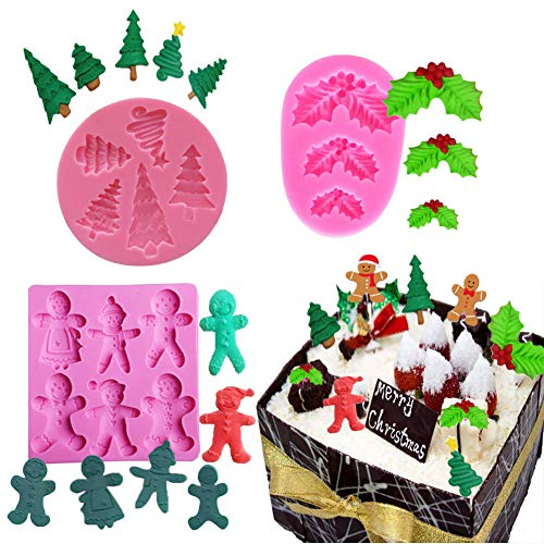 BUSOHA Christmas Silicone Mold,3 Pack Holly Leaf/Christmas Tree/Christmas Gingerbread Man Fondant Cake Mold for Biscuit Gum Paste Cupcake Topper Sugarcraft Cake Décor