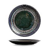 LYJ Plato de sopa de porcelana premium de 20,5 cm, plato de postre estilo occidental, plato de ensalada/desayuno/pasta, apto para lavavajillas y microondas (azul/verde), B