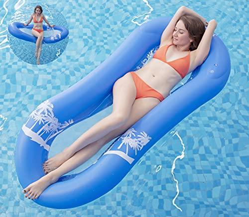 Pekelin Luftmatratze Pool Erwachsene, Wasserhängematte Erwachsene Luftmatratze Pool mit Netz Wasser Hängematte Pool Schwimmliege für Erwachsene (165 x 75cm, Blau)