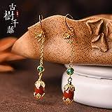 N-B Retro Agate Gold-Plated Earrings Female Fashion Ethnic Style Earrings Simple Earrings Green Earrings