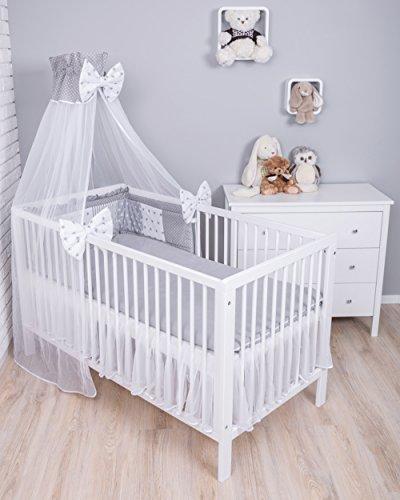 Amilian® Baby Bettwäsche 7tlg Bettset mit Nestchen Kinderbettwäsche Himmel 100x135cm Pünktchen grau/MIX 14 (Chiffonhimmel)
