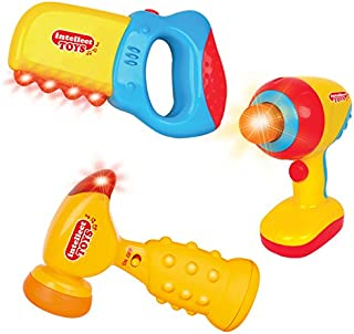 Liberty Imports Intellectual Musical Baby Toy Tools Set with Lights and Sounds - Hammer, Saw, Drill - Ideal Gift for Toddlers 6 - 18 Months (3 Piece Set)