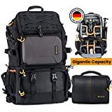 TARION Pro PB-01 Camera Backpack Large + Shoulder Camera Case with 15.6' Laptop Compartment Waterproof Rain...
