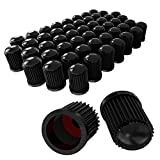 CK Auto 50 Pieces Tire Valve Stem Caps with O Rubber Ring Gasket, Plastic Universal Stem Covers for Cars, SUVs, Bike and Bicycle, Trucks, Motorcycles, Black