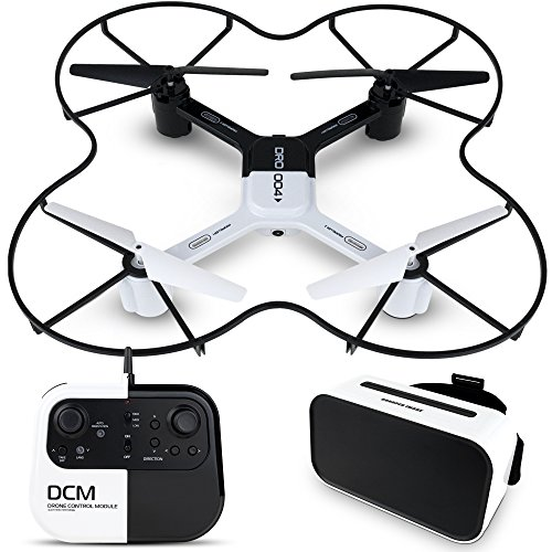 SHARPER IMAGE DRO-004 Lunar Drone with Smartphone Viewing, Virtual Reality Platinum Series, 2.4GHz HD Streaming Video, 720p RC Quadcopter, Autopilot System – White/Black