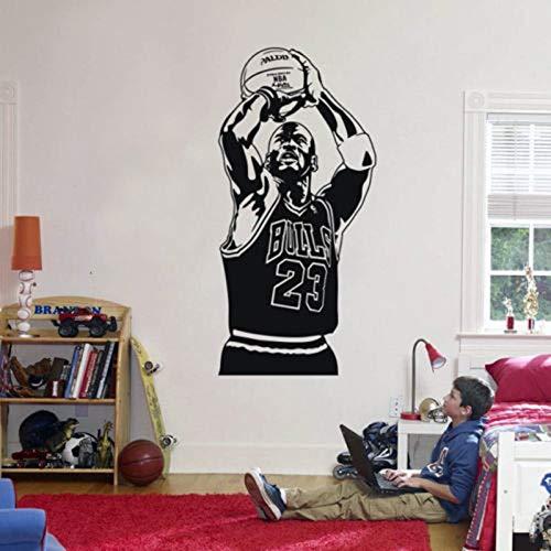 Pegatinas de pared, famosa estrella deportiva de vinilo para habitación de niños, jugador de baloncesto, quitar dormitorio, decoración del hogar, calcomanía, póster artístico 57x114cm