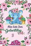 Alles Gute zum Geburtstag 5 suesser Elefant: Notizbuch, Tagebuch fuer Geburtstagsgeschenke Maedchen, tolle Qualitaet