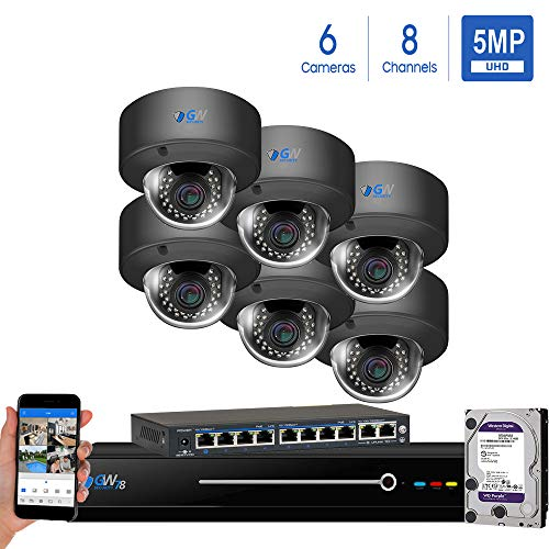 GW Security Surveillance Camera System, 8CH H.264 3MP NVR, 5 x 2.1MP HD 1080P Infrared Dome PIR Security Camera 2X Optical Zoom Indoor Only