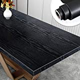 Yenhome 24' x 118' Black Wood Vinyl Film Removable Wallpaper Waterproof Self Adhesive Drawer and Shelf Liner Peel and Stick Wallpaper for Kitchen Bedroom Living Room Wall Decor Wall Covering