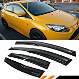 Cuztom Tuning 3D Style Smoke Tinted Window Visor Shade Rain Guard for 2009-2018 Ford Focus 4 Door Hatchback ST