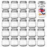 Josisi 8oz 24pcs Mason Jars, Glass Canning Jars Containers with Silver Regular Lids for Jam, Jelly, Honey, Yogurt, Wedding Favors and Spice