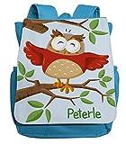 personalisierter Kindergartenrucksack   Motiv Eule Uhu & AST   Kleiner Kinderrucksack mit vielen...