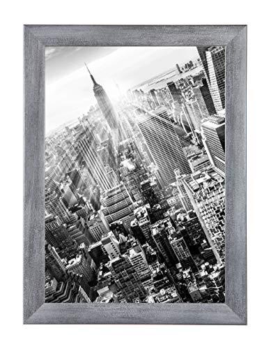 FRAMO 35 Puzzlerahmen 50 x 70 cm, Farbe: Grau Gewischt, handgefertigter Puzzle Bilderrahmen mit bruchfester Anti-Reflex Kunstglasscheibe, Rahmen Breite: 35mm, Außenmaß: 55,8x75,8cm